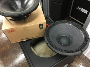 Replacing old RCF subwoofer drivers with new 18Sound drivers in our EAW cabinets