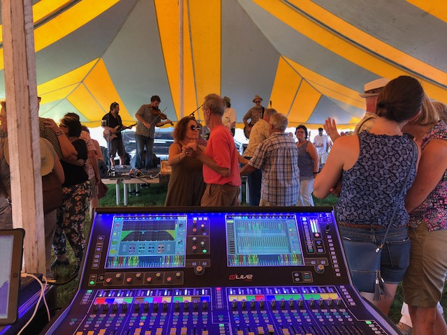 Mixing console at Fete de Marquette allen heath dLive production festival live sound madison wi dane